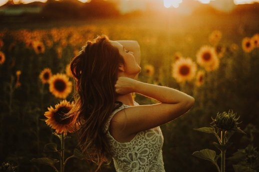 Willenskraft: Die 5 Grundlagen - Frau im Sonnenblumenfeld - Sonnenuntergang